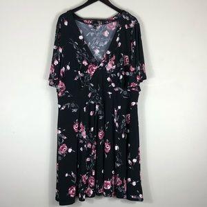 Torrid Black Floral Dress EUC